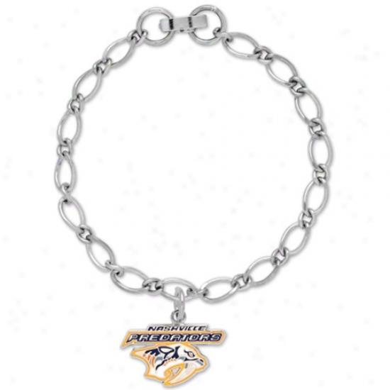 Nashville Predators Ladies Silver-tone Charm Bracelet