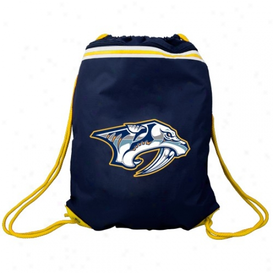 Nashville Predators Navy Blue Team Logo Drawstring Backpack