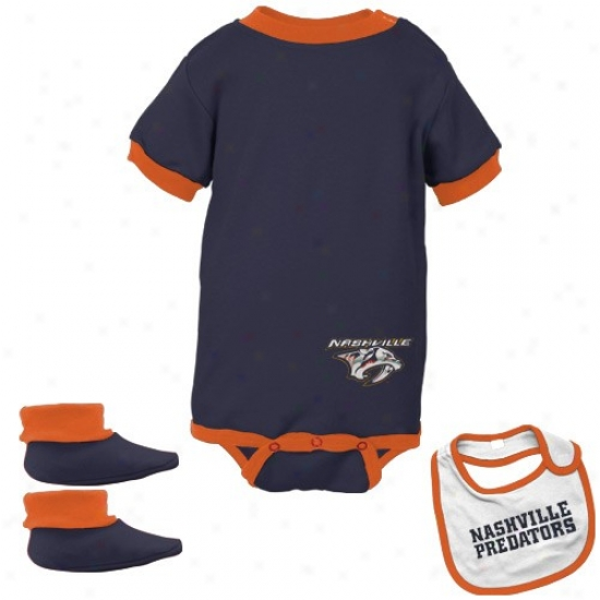 Nashville Predators Navy Infant Hockey Bib & Booties Set