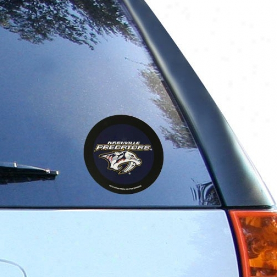 Nashville Predators Round Vinyl Hockey Pcuk Decal