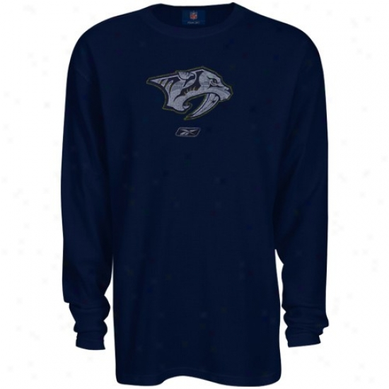 Nashville Predators Shirts : Reebok Nashville Predators Navy Blue Faded Logo Long Sleeve Thermal Shirts