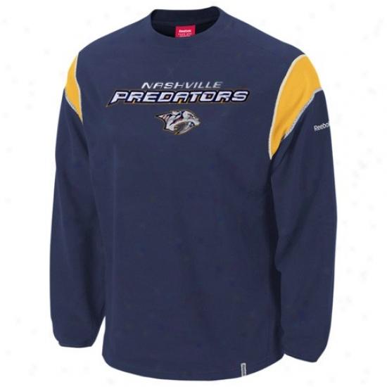 Nashville Predators Sweat Shirt : Reebok Nashville Predators Navy Blue Protector Crew Sweat Shirt
