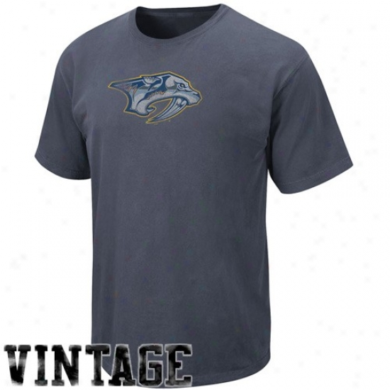 Nashville Predatorz Tee : Majestic Nashville Predators Navy Blue Big Time Play Vintage Tee
