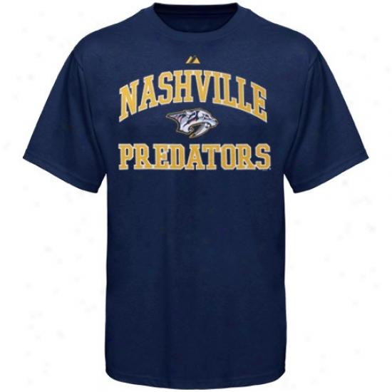 Nashville Predators Tee : Majestic Nashville Predayors Youth Ships of war Blue Heart & Soul Ii Tee
