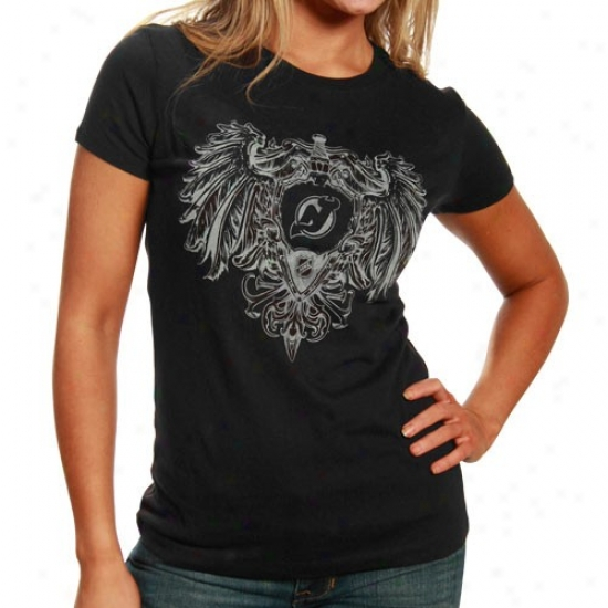 New Jersey Devil Attire Reebok New Jersey Devil Ladies Black Sword & Escutcheon T-shirt