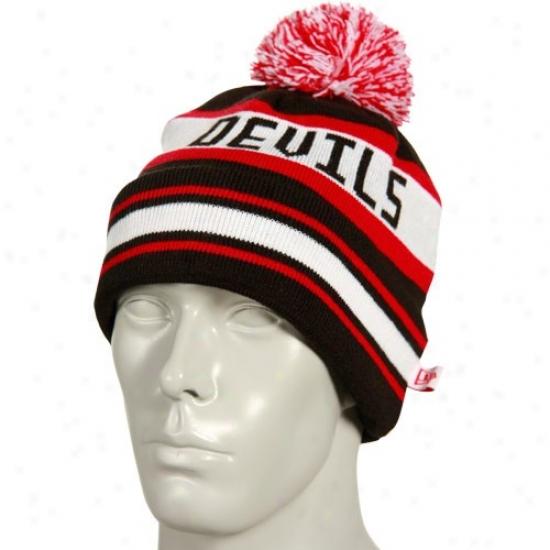 New Jersey Devil Hat : New Era New Jersey Devil Bllack Striped Jake Cuffed Knit Beanie