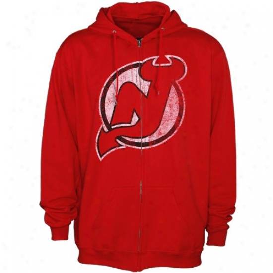 New Jersey Devil Hoodie : Majestic New Jersey Devil Red Official Logo Full Zip Hoodie