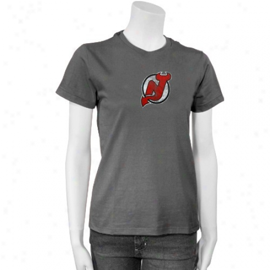 New Jersey Devil T Shirt : Reebok New Jersey Devil Ladies Gray Better Logo T Shirt