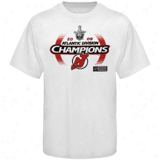 New Jersey Devil T-shirt : Reebok New Jersey eDvil 2009 Atlantic Division Champions White Ice Fade Locker Room T-shirt