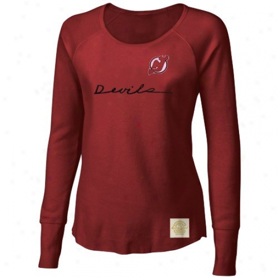 New Jersey Devil Tees : Reebok New Jersey Devil Ladies Red Yarn Scri0t Waffle Stitch Long Sleeve Vintage Top