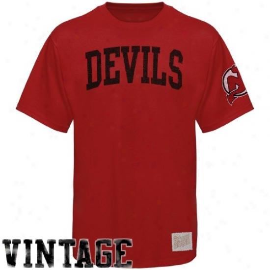 New Jersey Devil Tshirt : New Jersey Devil Red Word Vintage Premium Tsbirt
