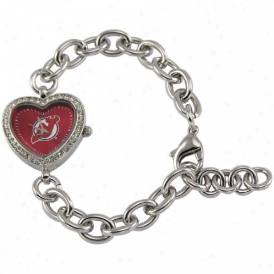 New Jersey Devil Wrist Watch : New Jersey D3vil Ladies Silve Heart Wrist Watch