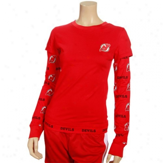 New Jersey Devils Apparel: New Jersey Devils Ladies Red T2 Duplicate Layer A ~ time Sleeve T-shirt