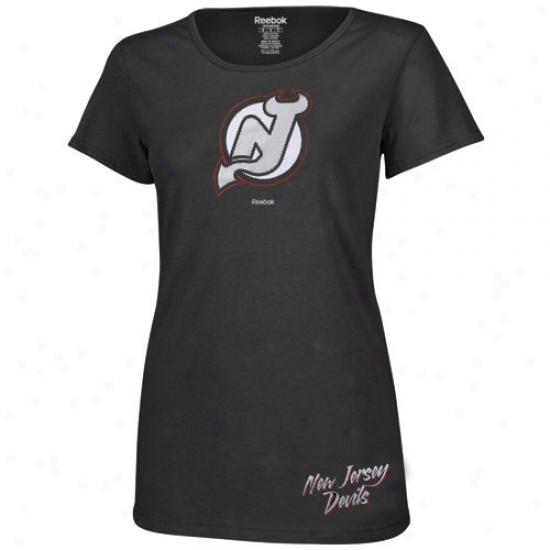 New Jersey Devil Apparel: Reebok New Jersey Devils Ladies Black Garment Washed Baby Dlol T-shirt