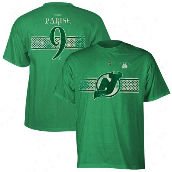 New Jersey Devils Dress: Reebok Starting a~ Jersey Devils #9 Zach Parise Kelly Green St. Patrick's Day Celtic Player T-shirt