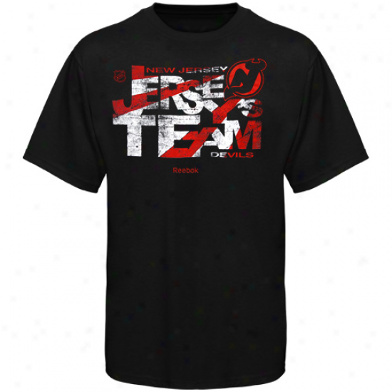 New Jersey Devils Apparel: Reebok New Jersey Devils Black Strret Lingo T-shirt