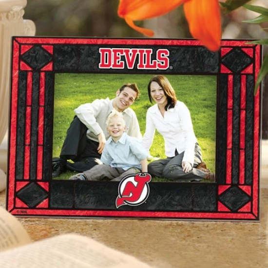 Unaccustomed Jersey Devils Art-glass Horizontal Picture Frame