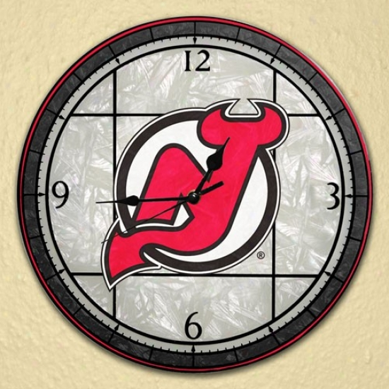 Repaired Jersey Devils Art-glass Wall Clock