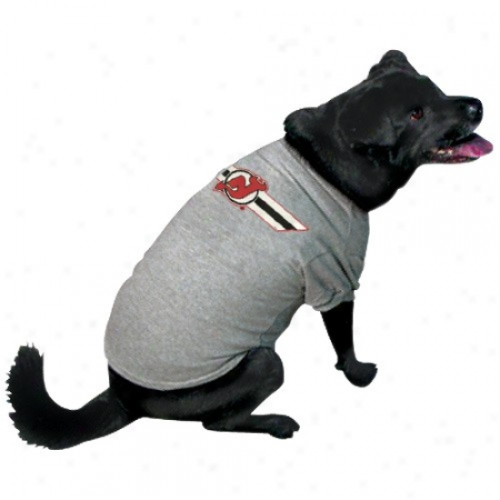 New Jersey Devils Ash Logo Pet T-shirt