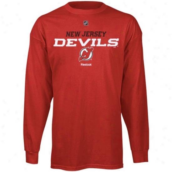 New Jersey Devils Attire: Reebok New Jersey Devils Red Team Speedy Long Sleeve T-shirt