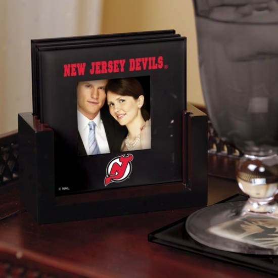 New Jersey Devils Black 4-pack Photo Coaster Set