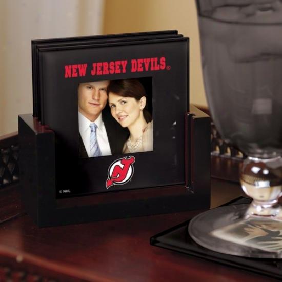 New Jersey Devils Black 4-pack Photo Coaster Set