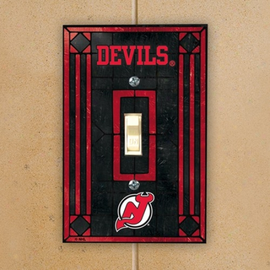 New Jersey Devils Black Art-glass Switch Plate Cover