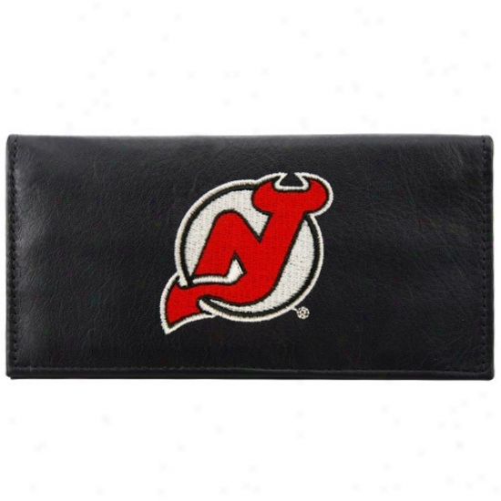 New Jersey Devils Black Leather Embroidered Checkbook Coved
