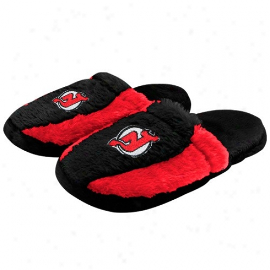 New Jersey Devils Black-red Plush Slide Slippers