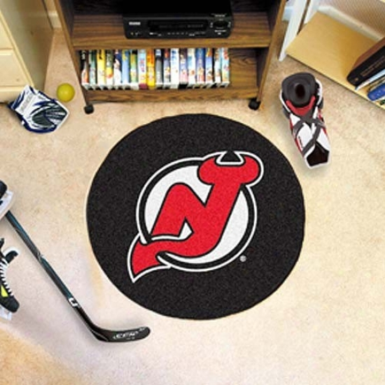 New Jersey Devils Black Round Hockey Puck Mat