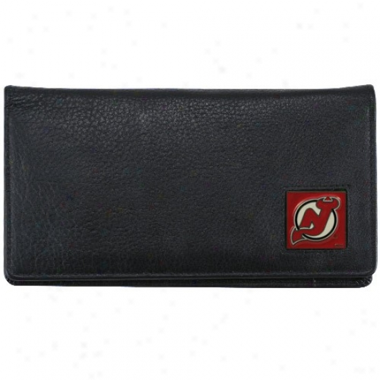 New Jersey Devils Executive Black Leather Checkbook Cover