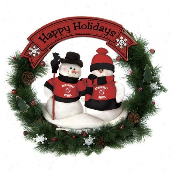 New Jersey Devils Happy Holidays Wreath