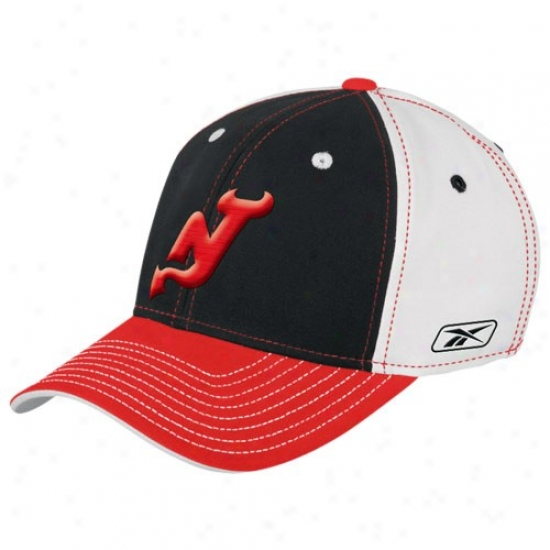 New Jersey Devils Hats : Reebok New Jersey Devils White Team Colors Flex Fit Hats