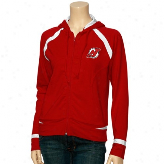 New Jersey Devils Hoodie : New Jersey Devils Ladies Red Stride Track Hoocie Jacket