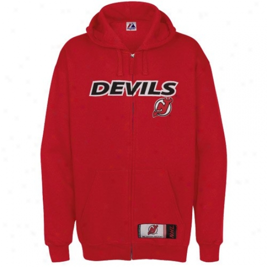 New Jeesey Devils Jaclet : Majestic New Jersey Devils Red Ckassic Heavyweight Full Zip Hoody Sweatshirt
