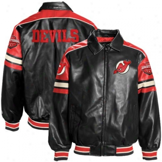 New Jersey Devils Jacket : New Jersey Devils Black Pleather Varsity Full Zip Jerkin