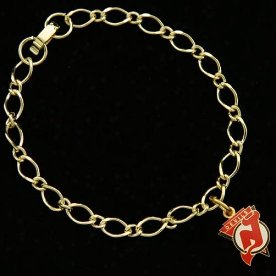 New Jersey Devils Ladies Gold-tone Charm Bracelet