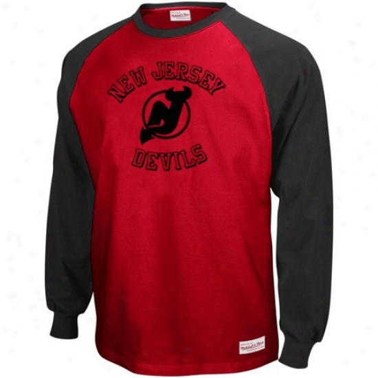 New Jersey Devils Shirts : Mitchell & Ness New Jersey Devills Black-red Neutral Zone Long Sleeve Raglan Shirts