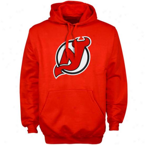 New Jersey Devils Stuff: Majestic New Jersey Devils Red Felt Tek Patch Pullover Hoody Sweatshirt