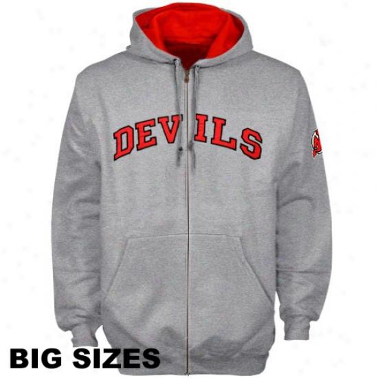 New Jersey Devils Refuse: New Jersey Devils Ash Full Zip Hoody Sweatshirt