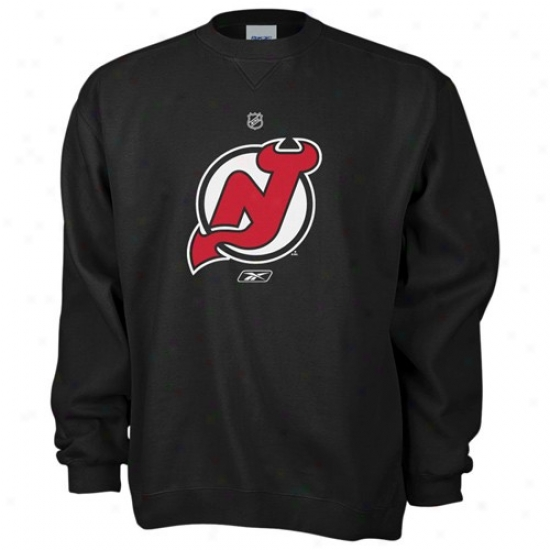 New Jeraey Devils Sweat Shirts : Reebok New Jersey Devils Black Primary Lpgo Crew Sweat Shirts