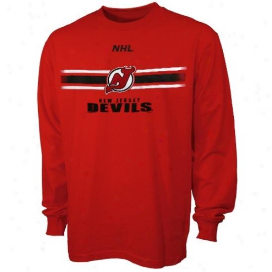 New Jersey Devils Tee : Majestic New Jersey Devils Red Earned Victory Long Sleeve Tee