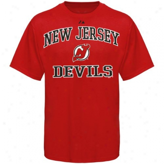 New Jersey Devils Tshirt : Majestic New Jersey Devils Red Heart And Leader Ii Tshirt