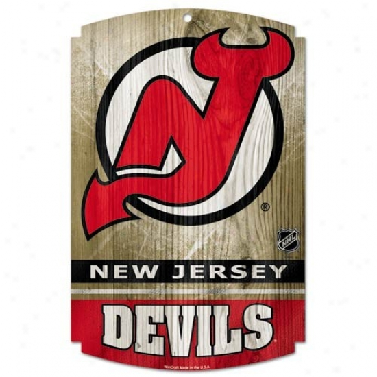 New Jersey Devils Wood Sign