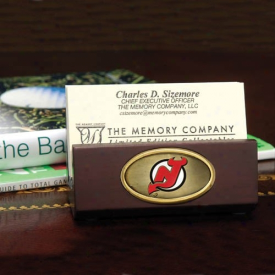 New Jersey Devils Wooden Office Card Holder