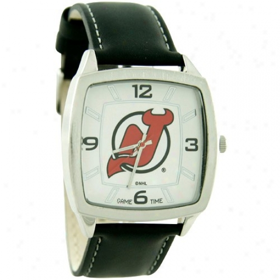 New Jersey Devils Wrist Watch : New Jersey Devils Retro Wrist Watch W/ Leather Band