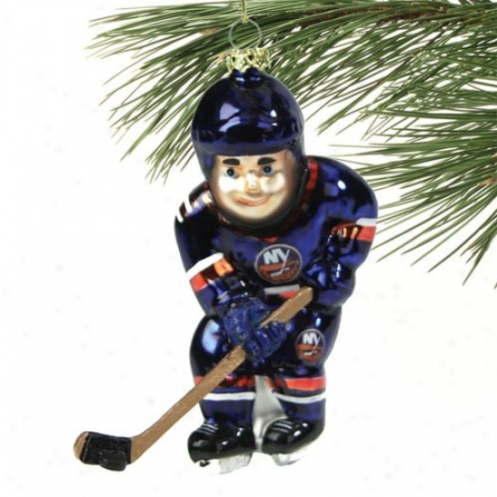 New York Islanders 4-inch Blown Glass Hockey Player Ornament