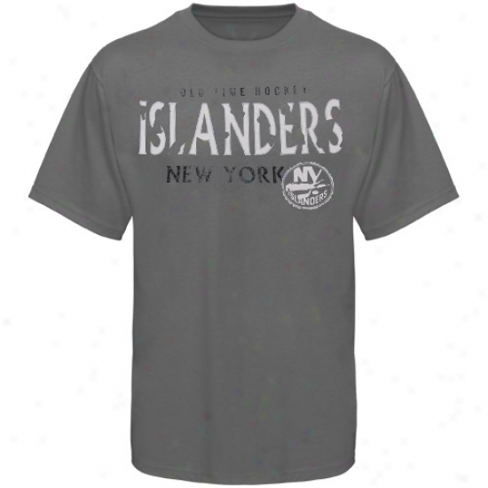 New York Islanders Apparel: Old Time Hockey New York Islanders Charcoal St. Croix T-shirt