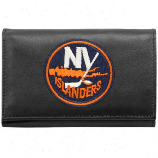 New York Islanders Black Embroidered Tri-fold Leather Wallet