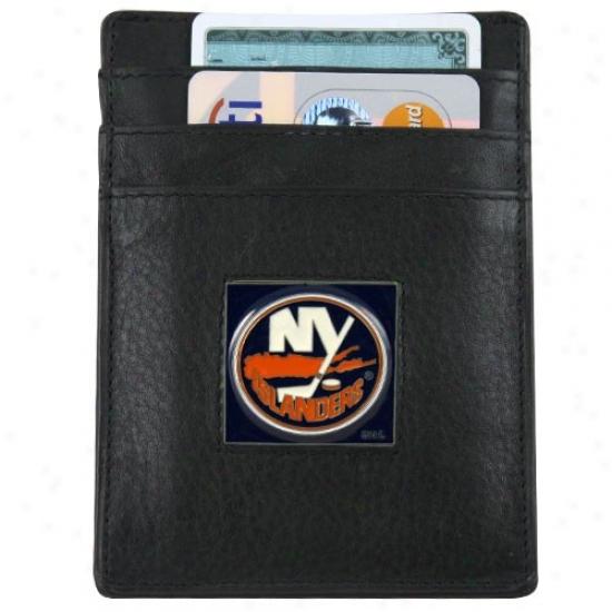 New York Islanders Black Leather Card Holder & Money Clip